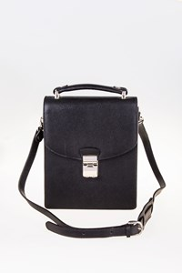 Lancel Black Leather Men's Bag with Shoulder Strap