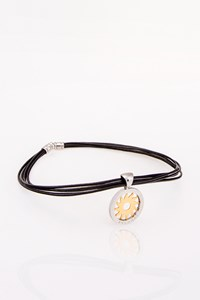 Bulgari Gold and Steel Pendant with Leather Strap
