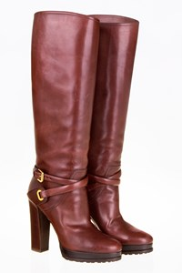 Ralph Lauren Brown Leather Boots with Straps / Size: 7B (37) - Fit: True to size