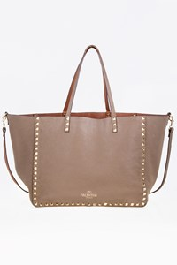 Valentino Rockstud Tan/Taupe Leather Reversible Tote Bag