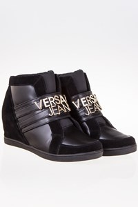 Versace Jeans Couture Linea Black Leather and Suede Sneakers / Size: 39 - Fit: 39.5