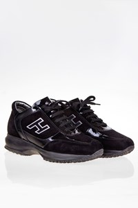 Hogan Interactive Black Patent and Suede Leather Sneakers / Size: 36.5 - Fit: 37.5