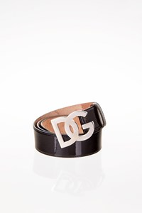 Dolce & Gabbana Black Patent Leather Belt with Logo Buckle