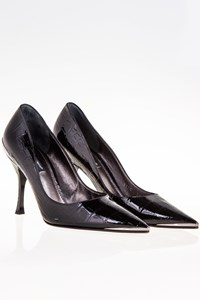 Dolce & Gabbana Black Patent Leather Pointed Toe Pumps / Size: 38.5 - Fit: True to size