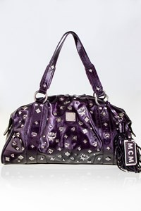 MCM Aubergine Patent Leather Studded Tote Bag