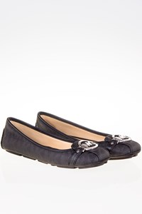 MICHAEL Michael Kors Fulton Moc Black Leather Ballet Flats with Logo / Size: 8 M (38.5)  - Fit: 39