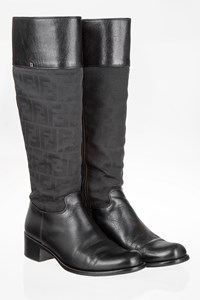 Fendi Zucca Black Knee-High Boots / Size: 38 - Fit: 38.5