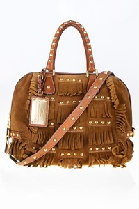 Dolce & Gabbana Tan Fringed Suede Leather Tote Bag