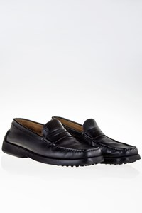 Tod's Black Leather Penny Loafers with Rubber Studs / Size: 40.5 (6½) - Fit: True to size