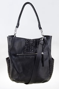 Liebeskind Black Leather Woven Tote Bag