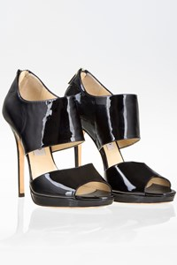 Jimmy Choo Private Black Patent Leather Peep-Toe Sandals / Size: 39½ - Fit: True to size