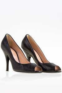 D&G Black Leather Peep-Toe Pumps / Size: 36 - Fit: True to size