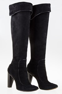 CoSTUME NATIONAL Black Suede Leather Boots with Wooden Heel / Size: 38 - Fit: True to size
