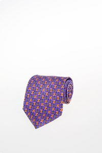 Lanvin Light Pink Silk Tie with Print