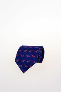 Etro Blue Silk Tie with Elephants