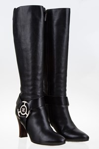 Céline Black Leather Boots with Metallic Buckle / Size: 36 - Fit: True to size