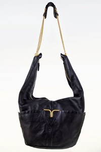 Chloé Triple Chain Milton Black Leather Hobo Bag