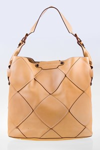 Salvatore Ferragamo Beige Leather Shoulder Bag with Patches