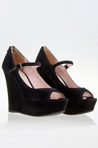 Miu Miu Black Camoscio Suede Peep-Toe Wedges / Size: 37.5 - Fit: True to size