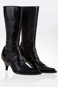 Miu Miu St. Cocco Rodeo Black Croco Leather Boots / Size: 36.5 - Fit: True to size
