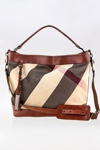Burberry Brown Lowry Mega Check Canvas Tote Bag