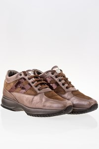 Hogan Brown Metallic Interactive Leather Sneakers / Size: 39 - Fit: 40