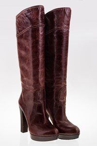 Prada Brown Leather High-Heeled Boots / Size: 37.5 - Fit: True to size