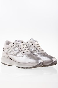 Hogan Silver Metallic Interactive Leather Sneakers / Size: 38.5 - Fit: 39.5