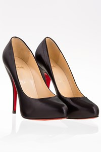 Christian Louboutin Black Feticha 120 Leather Pumps / Size: 38.5 - Fit: 39 (Tight at the front)