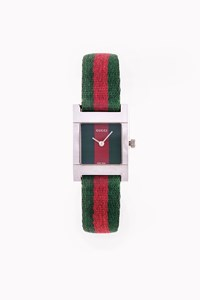 Gucci 7700L Stainless-Steel and Red-Green Canvas Watch