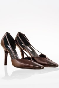Oscar de la Renta Brown and Grey Metallic Pumps / Size: 36 - Fit: 37