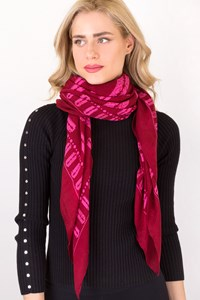 MCQ Deep Red Scarf with Razors Motif