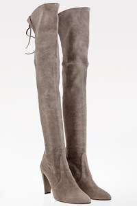 Stuart Weitzman Topo Gray Stone Over-The-Knee Suede Boots / Size: 40 - Fit: True to size