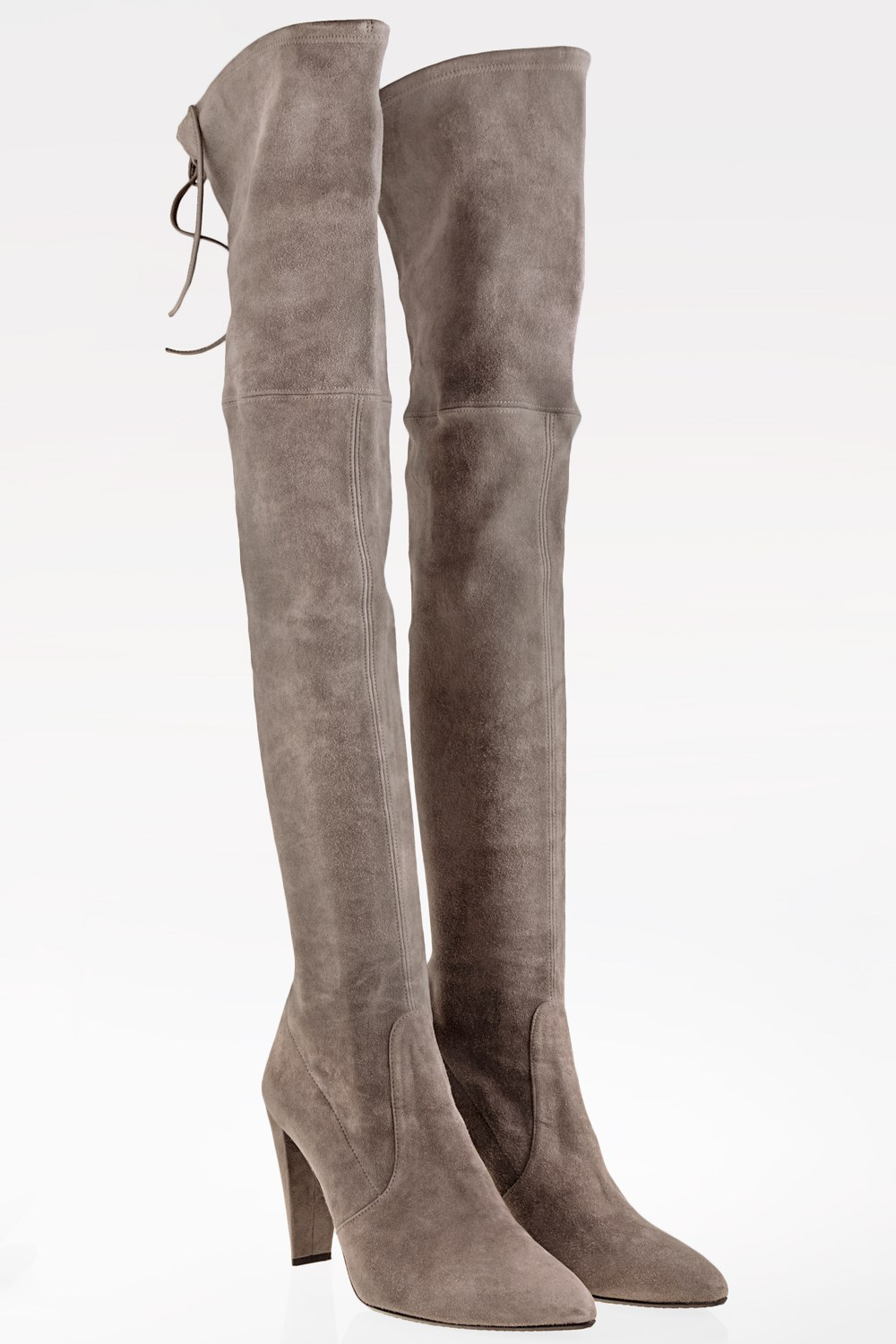 d83e11b1d42 Stuart Weitzman Topo Gray Stone Over-The-Knee Suede Boots   Size  40 ...