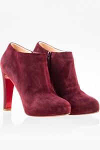 Christian Louboutin Burgundy Vicky Suede Ankle Boots / Size: 39.5 - Fit: 39
