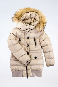 Moncler Off White Puffer Jacket with Fur Trim / Size: 8 years