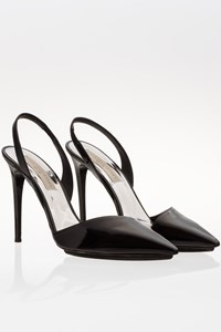 Stella McCartney Morgana Black Patent Leather Pointed Slingbacks / Size: 40 - Fit: True to size