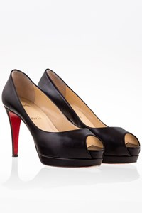 Christian Louboutin Altadama Black Leather Peep Toe Pumps / Size: 37.5 - Fit: True to size