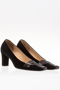 Gucci Black Suede Pumps with Patent Leather Details / Size: 36.5 C - Fit: 37