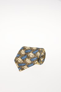 Céline Multicoloured Silk Printed Tie with Frogs