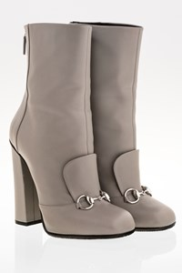 Gucci Grey Lillian Horsebit Leather Ankle Boots / Size: 39 - Fit: True to size
