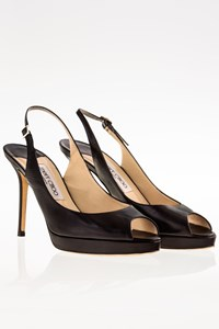 Jimmy Choo Black Leather Peep-Toe Slingbacks / Size: 38.5 - Fit: True to size