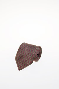 Hermès Green Silk Tie with Pink Print