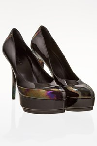 Gucci Black Patent Leather Pumps with Iridescent Details / Size: 39 - Fit: True to size