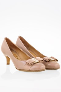 Salvatore Ferragamo Beige Leather Low Heel Pumps / Size: 6.5 (36.5) - Fit: True to size