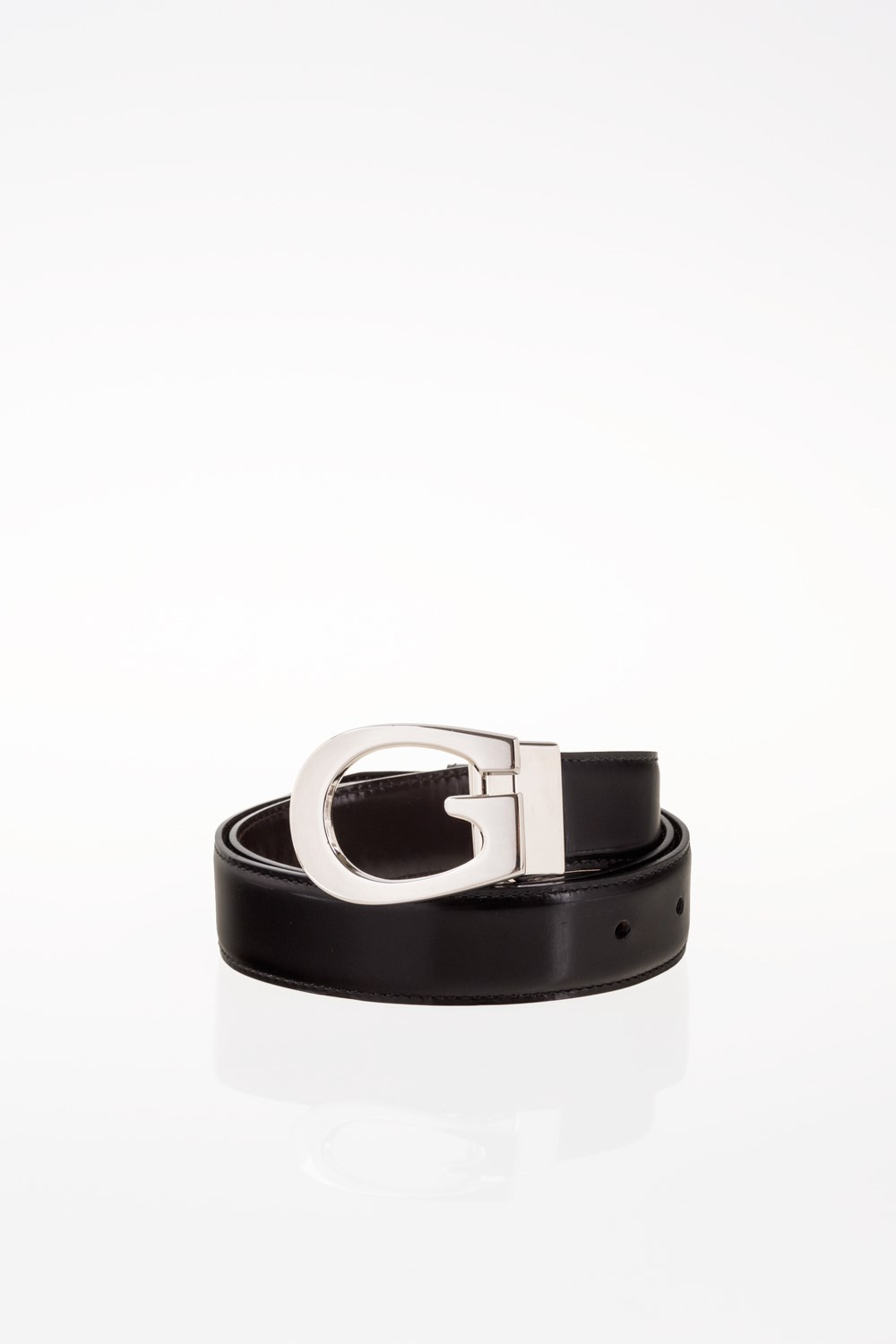 3cb113c5bfe Black Leather Belt with G Buckle