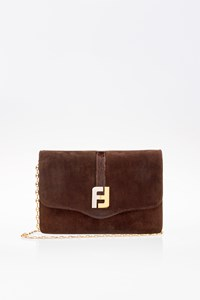 Fendi Brown Suede Pochette with Golden Chain