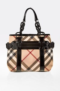 Burberry Patent Leather Supernova Check Coated Canvas Tote Bag