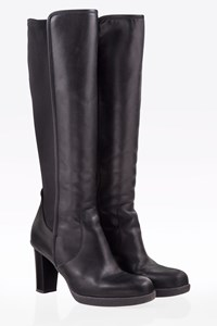 Samsonite Black Leather Boots with Elasticated Panel / Size: 38 - Fit: 38.5