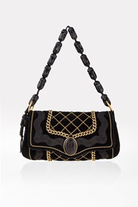 YSL Black Velvet Pochette with Gold Chain Trim
